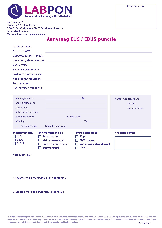 Aanvraagformulier EUS / EBUS punctie