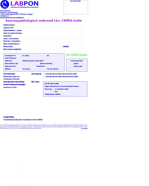 Aanvraagformulier pathologisch onderzoek Cairo6 studie