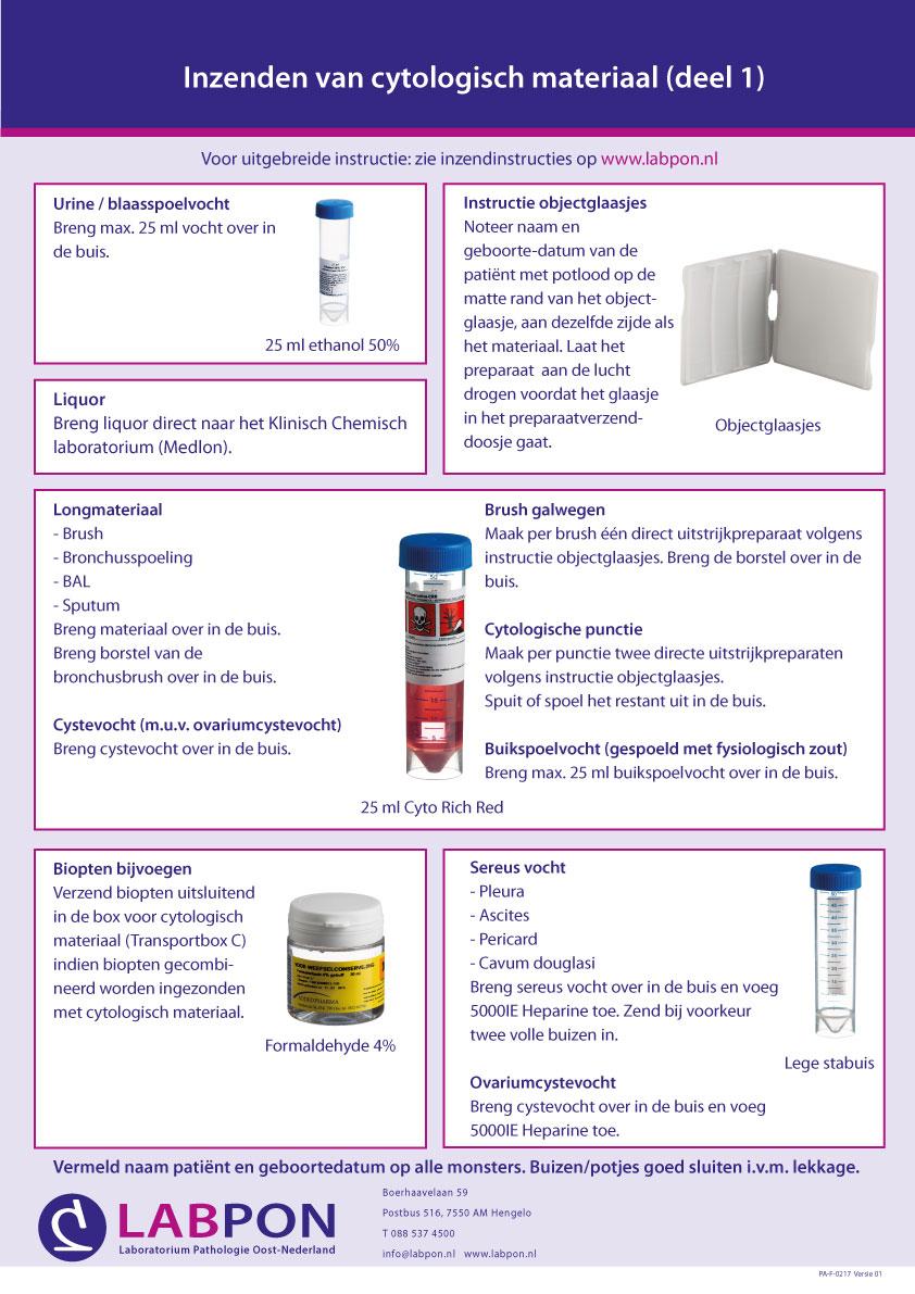 Poster inzendinstructie cytologie deel 1