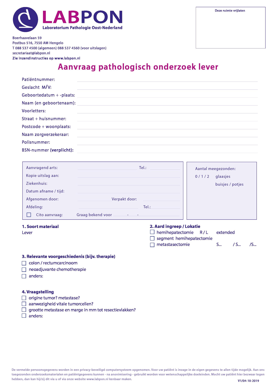 Aanvraagformulier pathologisch onderzoek lever
