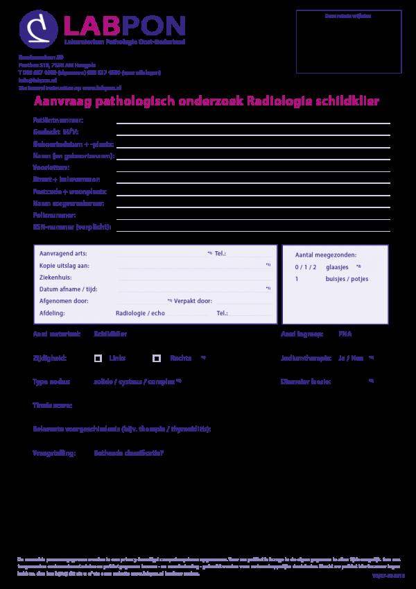 Radiologie aanvraagformulier pathologisch onderzoek Schildklier