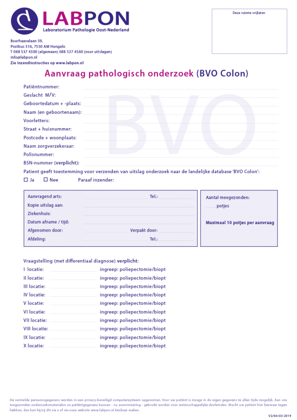Pathologisch onderzoek BVO Colon