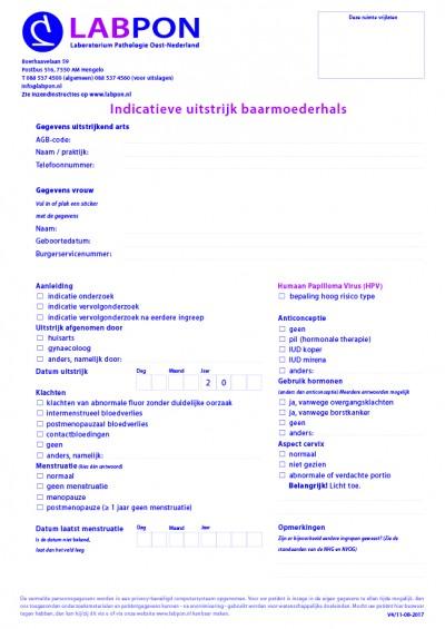 Indicatieve uitstrijk baarmoederhals