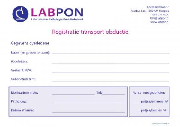 Registratieformulier transport obductie