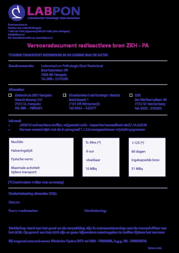 Vervoersdocument radioactieve bron ZKH - PA